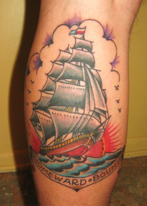 Great Sailing Ship Tattoo On Leg