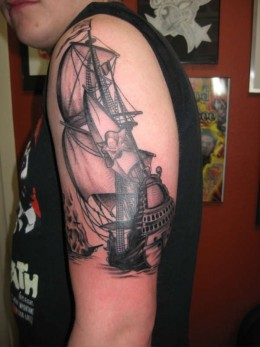 Great Ship Tattoo On Arm Of Guy