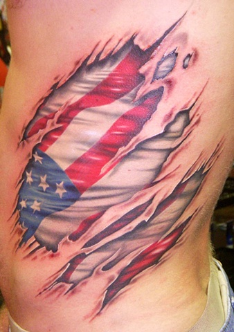 Great Torn Ripped Skin US Flag Tattoo On Side