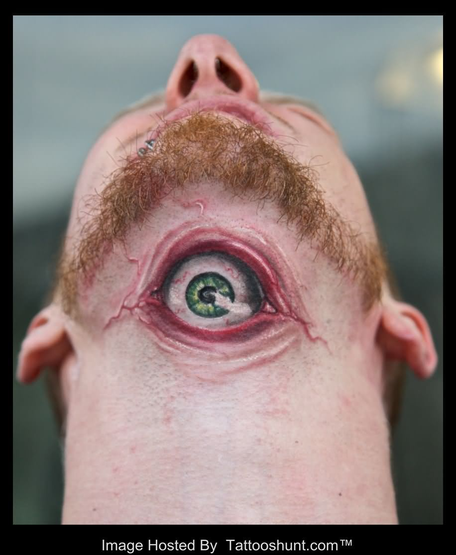 Green Eye Tattoo On Front Of Neck