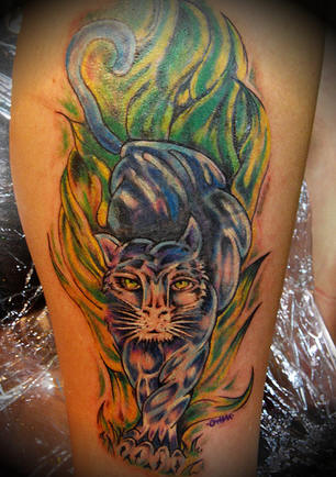 Green Flames And Panther Tattoos