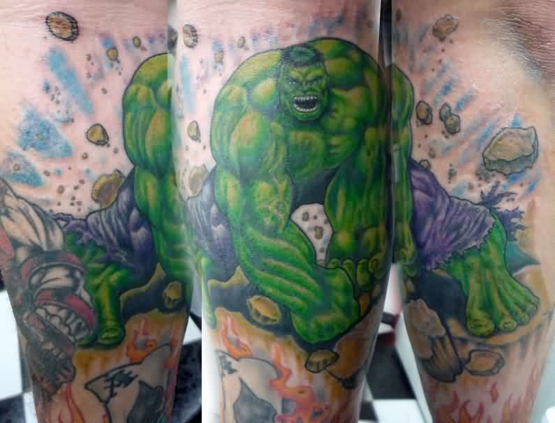 Green Hulk Smash Sleeve Tattoos