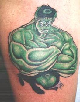 Green Ink Muscular Hulk Tattoo