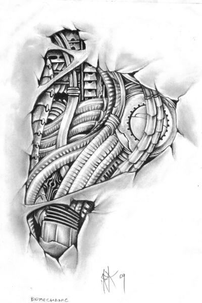 Grey Biomechanical Headphones Tattoo Design