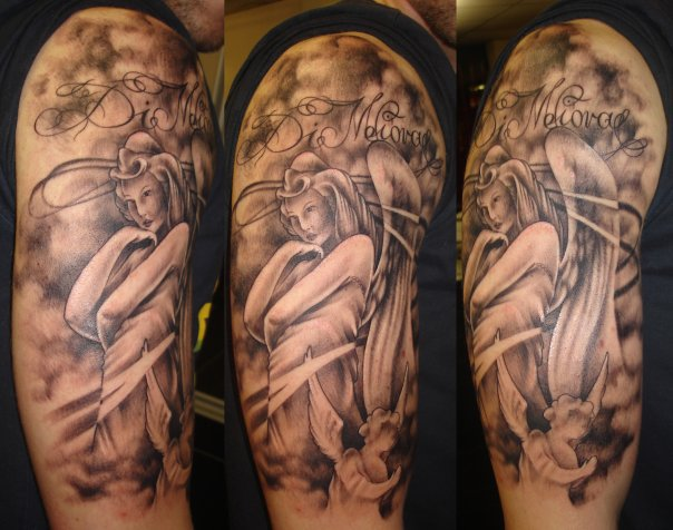 Grey Ink Angel Half Sleeve Tattoo