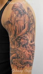 Grey Ink Angel Half Sleeve Tattoos