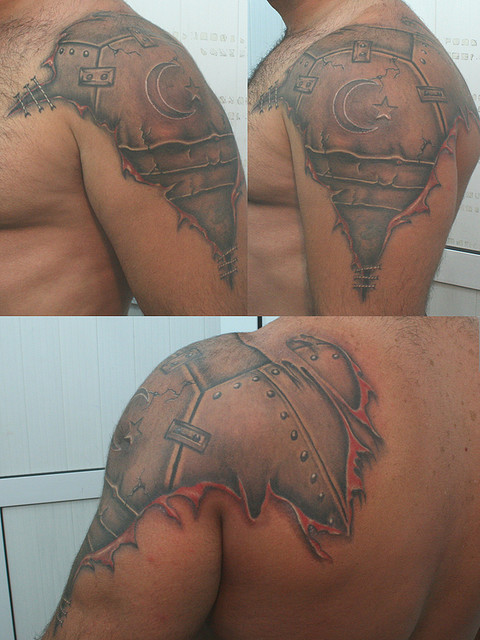 Grey Ink Armor Ripped Skin Tattoos For Men