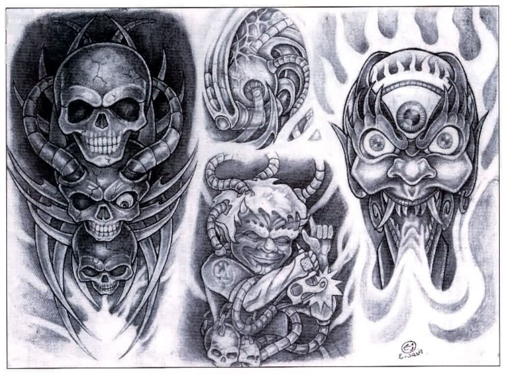Grey Ink Biomechanical Skull Tattoo Design