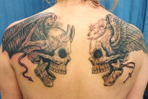 Grey Ink Devil And Angel Skull Tattoos For Men