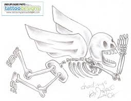 Grey Ink Flying Skeleton Tattoo Design