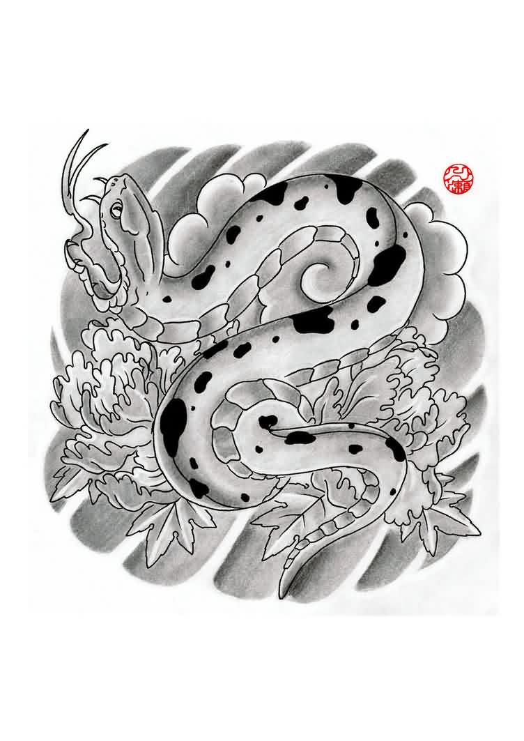 Grey Ink Japanese Snake And Waves Tattoo Design