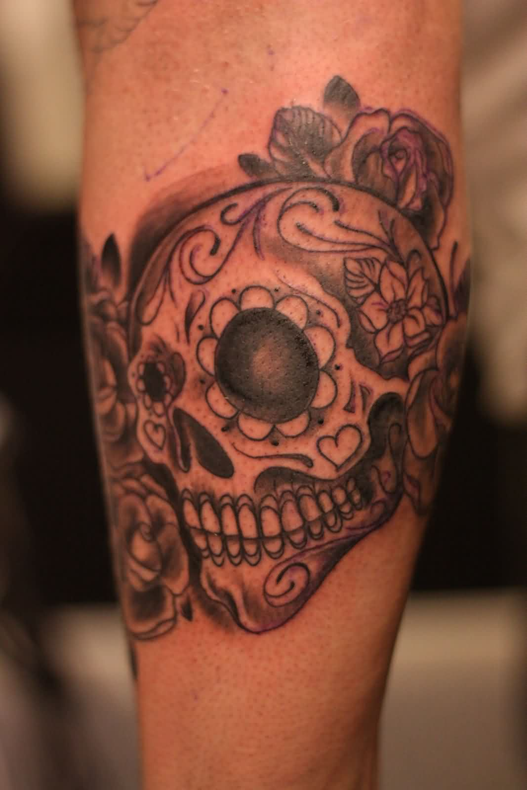 Grey Ink Mexican Skull And Rose Tattoos