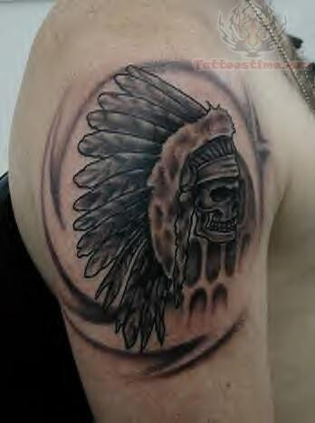 Grey Ink Native American Skull Tattoo On Biceps