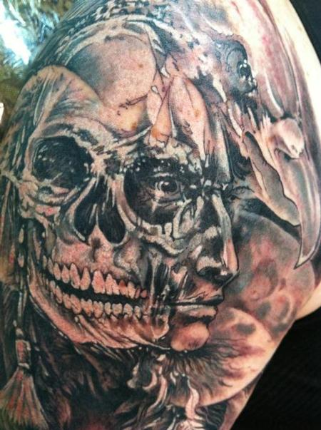 Grey Ink Native American Skull Tattoo On Shoulder