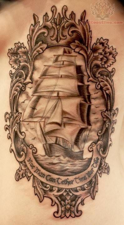 Grey Ink Pirate Ship Frame Tattoo