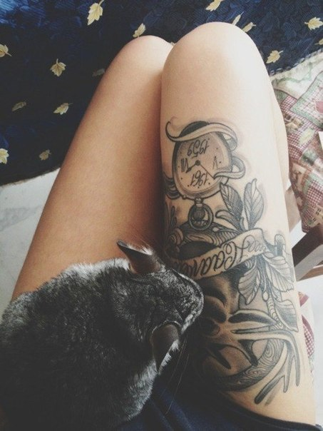 Grey Ink Right Thigh Tattoos For Girls