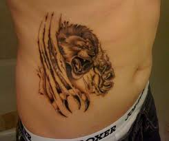 Grey Ink Ripped Skin Angry Lion Tattoo