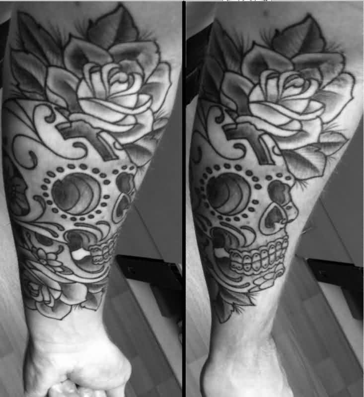 Grey Ink Roses And Skull Tattoos