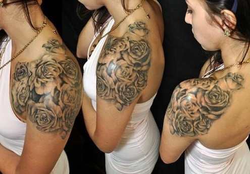 Grey Ink Roses Shoulder Tattoos