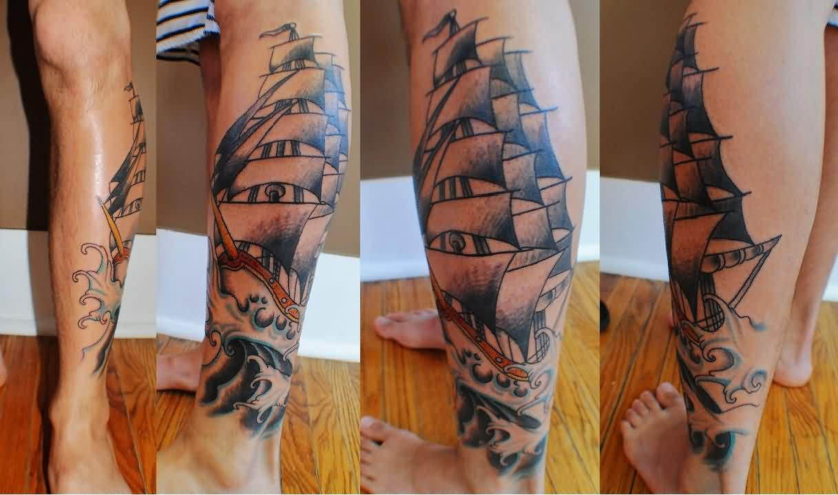 Grey Ink Sailing Ship Leg Tattoos