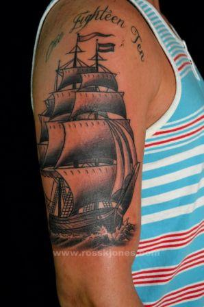 Grey Ink Sailing Ship Tattoo For Arm