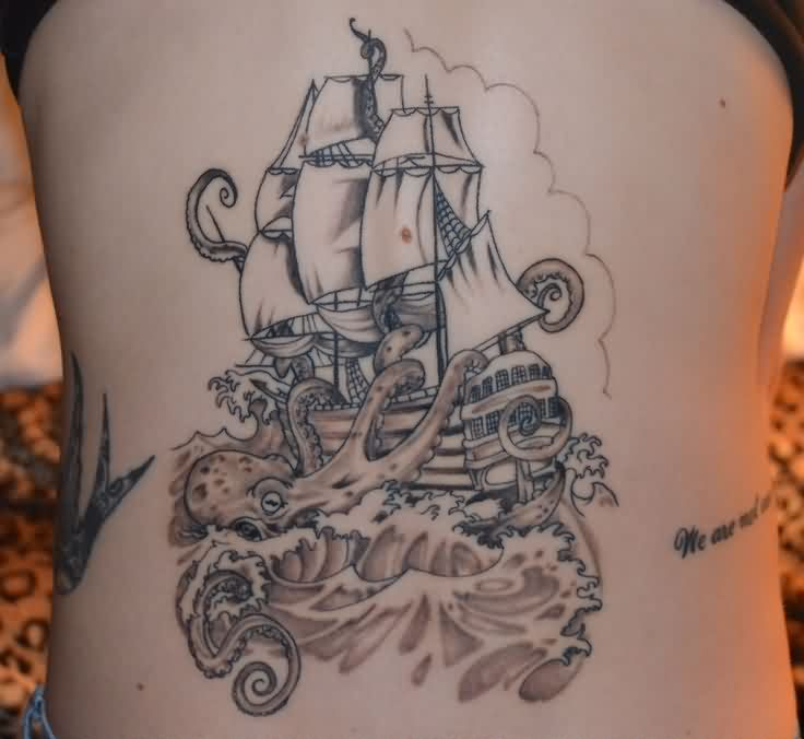 Grey Ink Ship And Octopus Tattoos On Backside