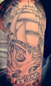 Grey Ink Ship And Waves Tattoos On Sleeve