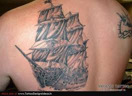 Grey Ink Ship Tattoo For Men
