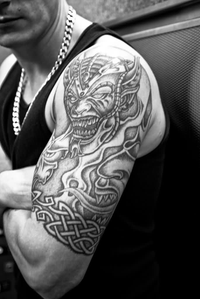 Grey Ink Shoulder Tattoos For Men