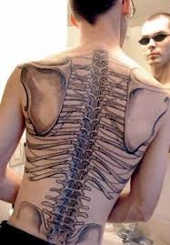 Grey Ink Skeleton Bones Tattoos On Whole Back