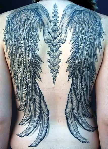 Grey Ink Skeleton Bones With Wings Tattoos On Back