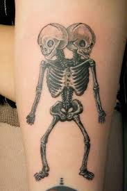 Grey Ink Skeleton Tattoos