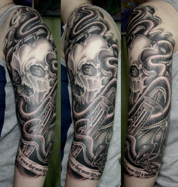 Grey Ink Skull And Snake Dagger Tattoos On Sleeve