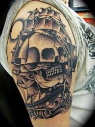 Grey Ink Skull Ship Tattoo On Upper Sleeve