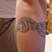 Grey Ink Snake Armband Tattoo