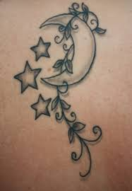 Grey Ink Star And Moon Vine Tattoos