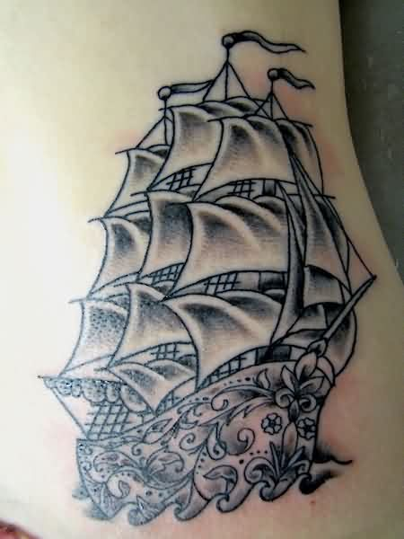 Grey Ink Sugar Skull Ship Tattoo