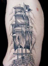 Grey Ink Tall Pirate Ship Tattoo On Rib