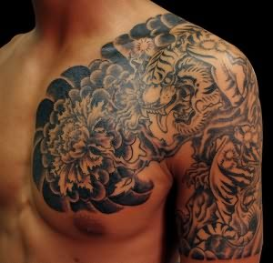 Grey Ink Tiger Tattoo On Shoulder