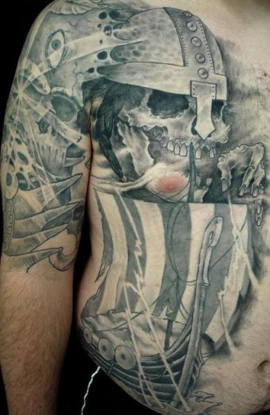Grey Ink Viking Skull And Ship Tattoos On Half Side