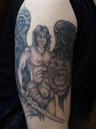 Grey Ink Warrior Half Sleeve Tattoo