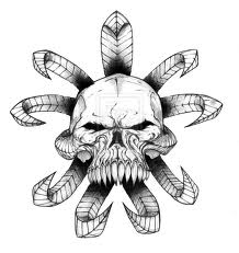 Grey Ink Wicked Skull Tattoo Stencil