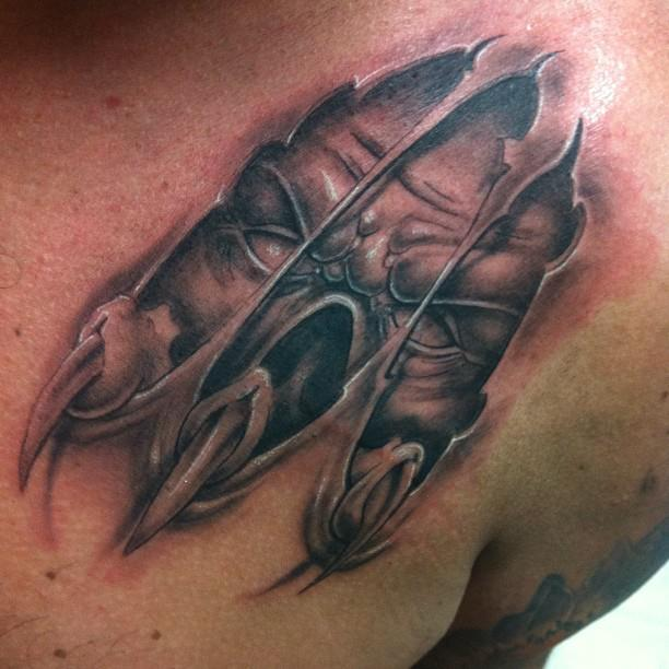 Grey Ink Wicked Torn Ripped Skin Tattoo For Men