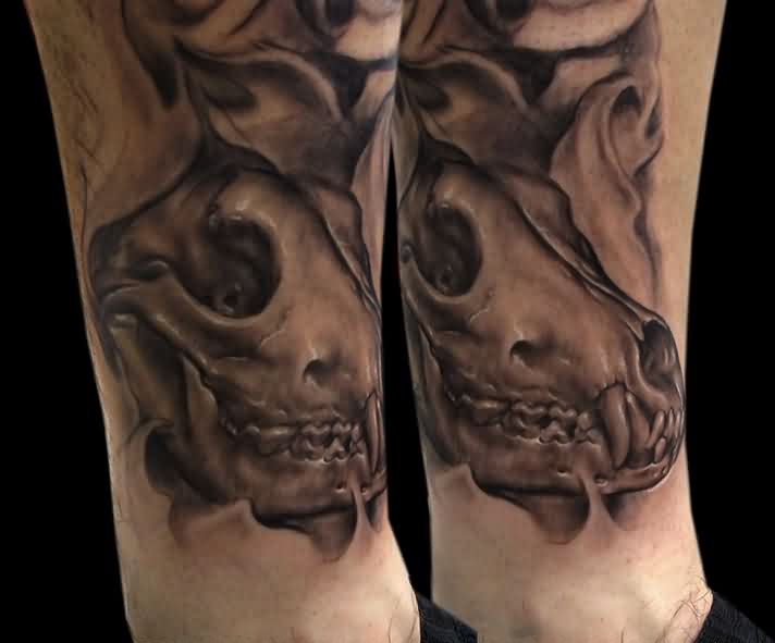 Grey Ink Wolf Skull Leg Tattoos