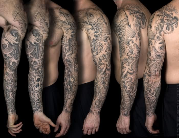 Grey Koi Fish And Waves Left Sleeve Tattoos