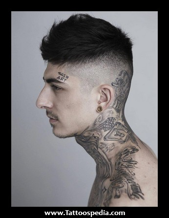 Grey Neck Tattoos For Young Guys