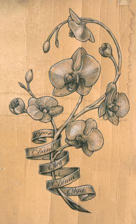 Grey Orchid And Banner Tattoos Poster