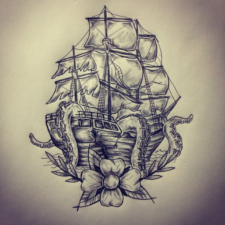 Grey Pirate Ship Octopus Tattoo Poster