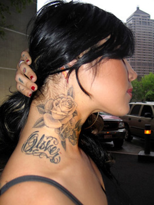 Grey Rose Side Neck Tattoo For Girls