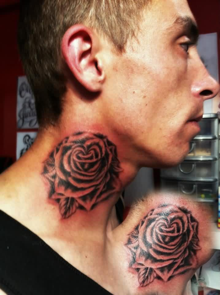 Grey Rose Side Neck Tattoos